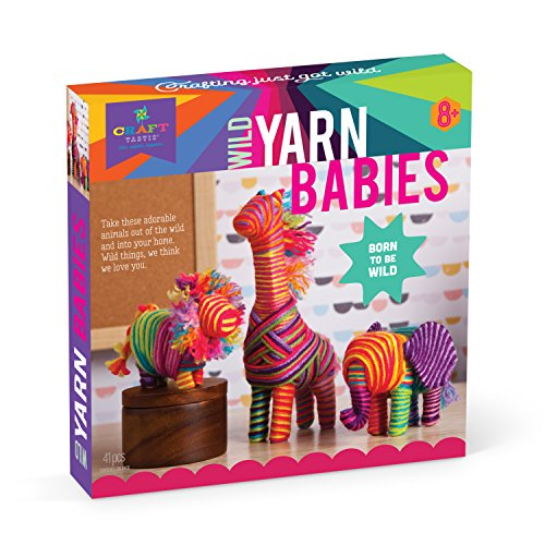 Craft-tastic – Wild Yarn Babies Kit – Craft Kit Makes 3 Yarn-Wrapped Animals – Elephant Calf, Lion Cub & Giraffe -