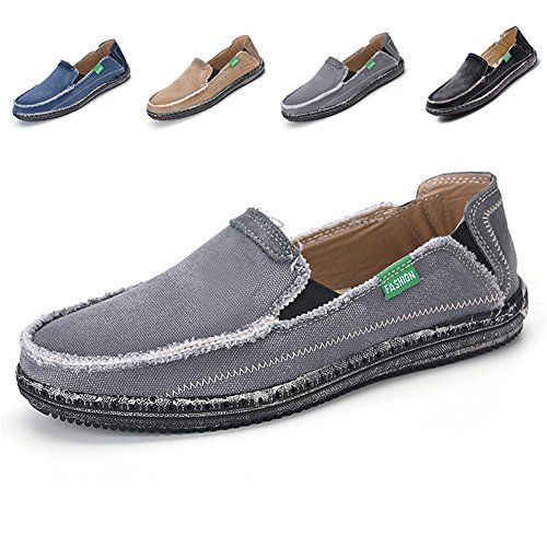 L-RUN Mens Cloth Shoes Slip-On Canvas Loafers Outdoor Leisure Walking Grey