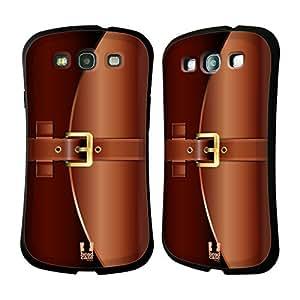 Head Case Designs Brown Briefcase Hybrid Gel Back Case for Samsung Galaxy S3 III I9300