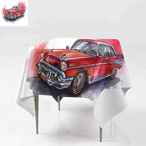 Polyester Tablecloth Watercolor Hand Drawn Old Fashioned Car Antique Motor Vehicle Retro Outdated Abstract Art Red Dimgrey Washable Tablecloth W54 xL64