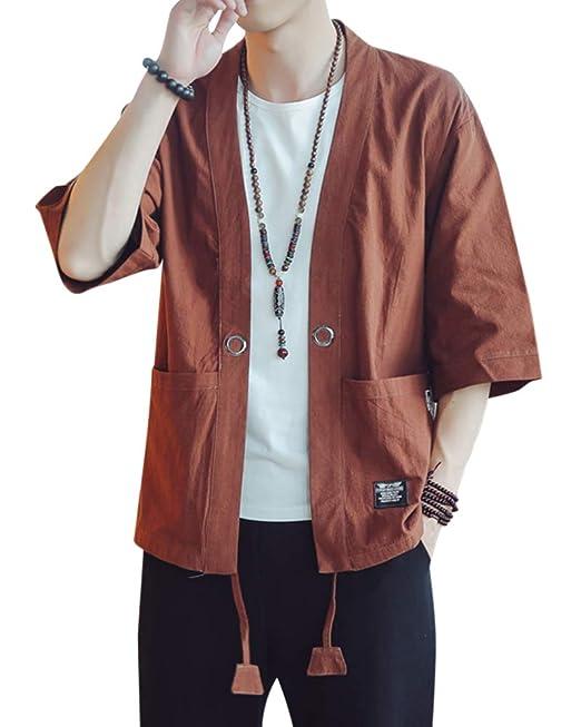 AnyuA Chaqueta para Hombre, Japonesa del Estilo, del Kimono ...