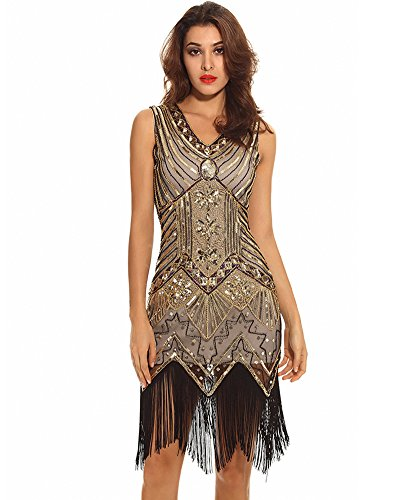 Maketina Roaring 20s Vintage Fringes Sequin Beaded Embellished Gatsby Flapper Dress size M (Great Gatsby Costumes For Women)