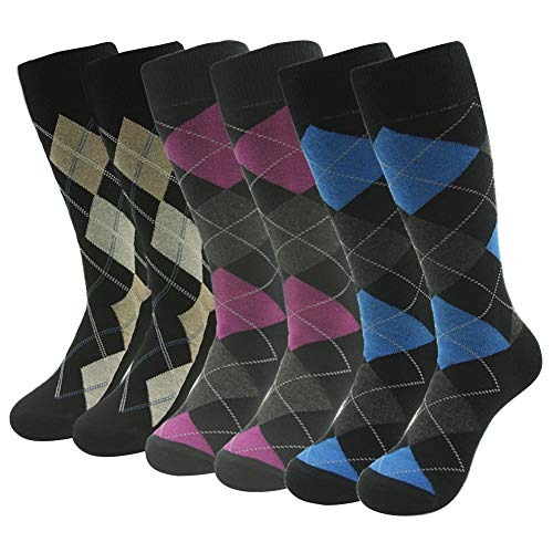 (Men Dress Socks, SUTTOS Mens Fashion Socks Blue Pink Yellow Black Argyle Plaids Over The Calf Knee High Long Tube Warm Cotton Casual Dress Socks, 6 Pairs)