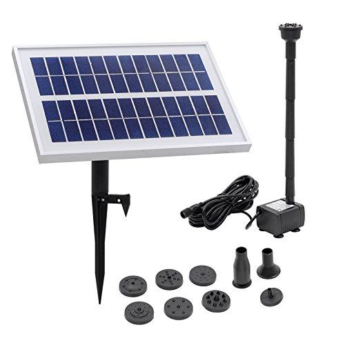 BAYTTER® Solar Teichpumpe 5W Wasserspiel + Pumpe für Gartenteich oder Springbrunnen; Max. Saughöhe: 100 cm, 400L/h