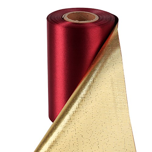 LaRibbons 6 inch Wide Luxury Double Side (Sherry Red Satin and Metallic Gold) Grand Opening Ceremonial Satin Ribbon by 25 Yards/Spool