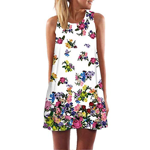 [해외]여성 빈티지 보호 여름 민소매 비치 짧은 미니 드레스를 인쇄 / Women Vintage Boho Summer Sleeveless Beach Printed Short Mini Dress
