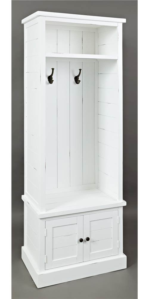 Jofran Hall Tree in Weathered White Finish - Beach and craftsman style Fixed shelf in cabinet Two hooks - hall-trees, entryway-furniture-decor, entryway-laundry-room - 519AdV3zzhL -