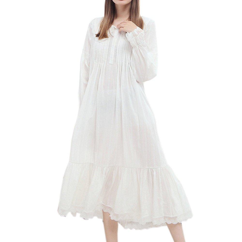 Womens' Vintage Cotton Sleepshirt Victorian Nightgowns Nightdress PJS Loungewear