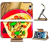 Luxlady Premium Apple iPhone 6 iPhone 6S Flip Pu Leather Wallet Case iPhone6 IMAGE ID 25639700 Delicious italian pizza served on wooden table offers