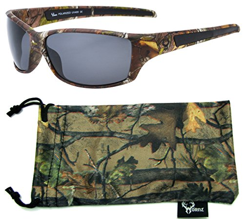 Hornz Brown Forrest Camouflage Polarized Sunglasses for Men Full Frame & Free Matching Microfiber Pouch – Brown Camo Frame - Smoke - Camo Sunglasses