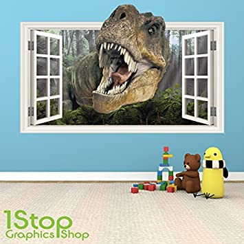 DINOSAUR WALL STICKER FULL COLOUR   GIRLS BOYS KIDS BEDROOM WINDOW W60  Size: Large