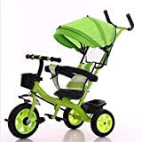 Cuicui Tricycle Child Balance Bike Fall Protection, Hand Push, Sunshade, With Frame, Three Forms Folding Pedal Green Material 1-6 Year Old Baby,Green