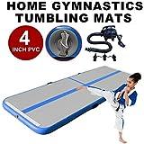 STAR PARASELENE Inflatable Gymnastics Tumbling Mat Air Tumbling Track Air Floor Mat for Home Use, Water, Park and Beach (3mx0.9mx0.1m, Blue)