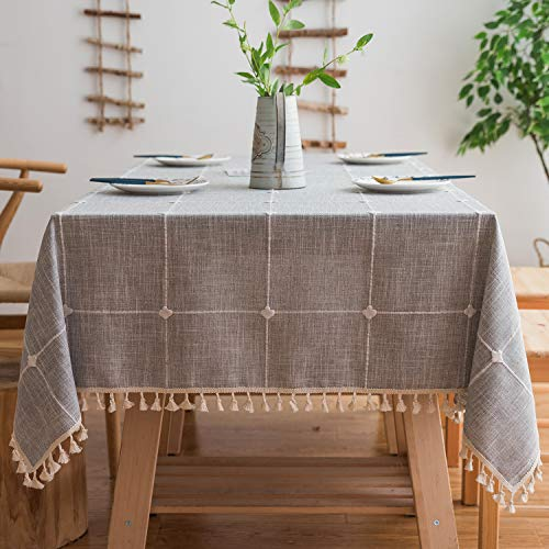 Mokani Washable Cotton Linen Solid Embroidery Checkered Design Tablecloth, Rectangle Table Cover Great for Kitchen Dinning Tabletop Buffet Decoration (55 x 86 Inch, Gray)