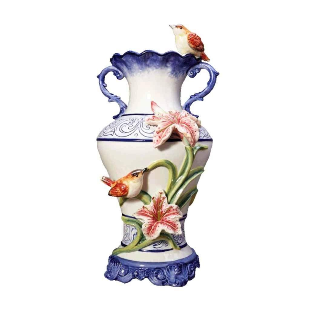 ユリエンボス青と白の磁器の花瓶大水耕栽培瓶ダブル耳、リビングルームのテーブルセンターピースの床の花瓶や結婚式のためのヨーロッパの創造的な家の装飾35cmのギフト B07SKTFPVC