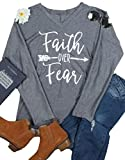 Faith Over Fear T-Shirt Women Arrow Letter Print Batwing Sleeve V Neck Tops Tees size XXL (Gray)