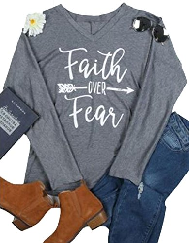 Over Junior Tee (Faith Over Fear T-Shirt Women Arrow Letter Print Batwing Sleeve V Neck Tops Tees Size L (Gray))
