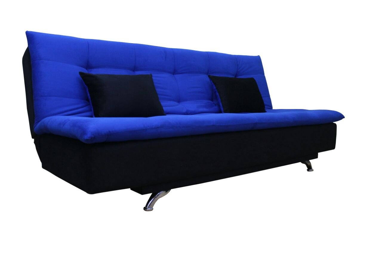 Adorn India Aspen Three Seater Sofa cum Bed Blue and Black