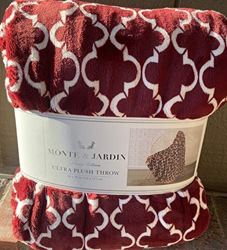 Monte Jardin Ultra Plush Throw Red and White Pattern 60 via 70 inches Luxury Collection