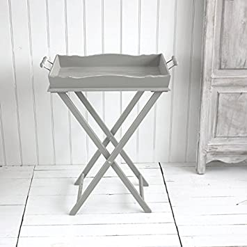 Superior Grey Wooden Butler Tray On A Stand Folding Tray Table