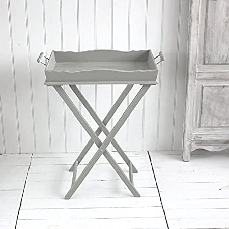 Grey Wooden Butler Tray On A Stand Folding Tray Table