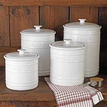 White Embossed Kitchen Canister Set, 4 Piece