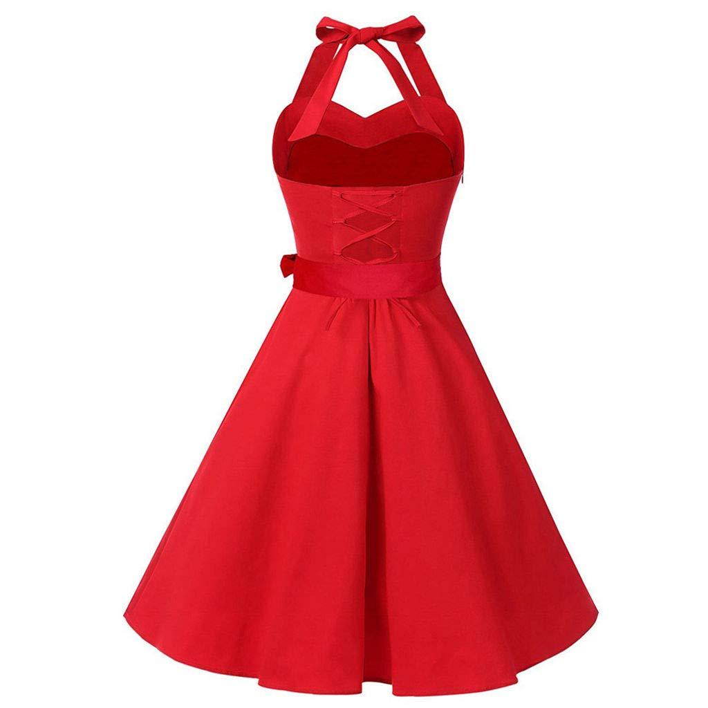 d754cf8d1d3 Amazon.com  Women Plus Size Dress 1950s Vintage Halter Neck Bowknot Solid Rockabilly  Swing Dress Retro Cocktail Party Dresses  Clothing
