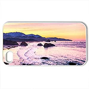 beautiful cannon beach in oregon - Case Cover for iPhone 4 and 4s (Beaches Series, Watercolor style, White)