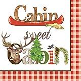 Paperproducts Design Beverage/Cocktail Napkins (Pack of 20), Cabin Sweet Cabin, Multicolor