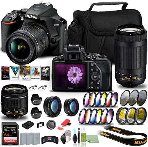 NIKON D3500 DSLR CAMERA WITH 18-55MM AND 70-300MM LENSES (1588) USA MODEL + 64GB EXTREME PRO CARD + 2 X EN-EL14A BATTERY + COREL PHOTO SOFTWARE + CASE + 3 PIECE FILTER KIT + TELEPHOTO LENS + MORE