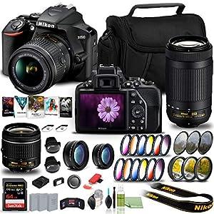 Nikon D3500 DSLR Camera with 18-55mm and 70-300mm Lenses (1588) USA Model + 64GB Extreme Pro Card + 2 x EN-EL14a Battery…
