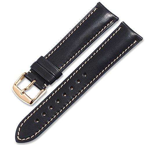 Wrist Original Strap (iStrap Quick Release Leather Watch Band Wrist Calf Strap Men Women 21mm Soft Pin Buckle Black)
