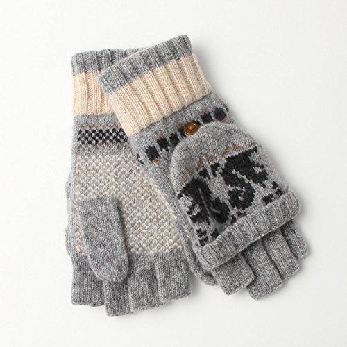 施し誓約ハチ(ヨークス) YORKS タスマニア ラムニット レディース 手袋 指切りタイプ 白鳥柄 フリーサイズ