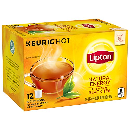 Lipton Premium Black Tea K-Cups, Natural Energy 12 Count