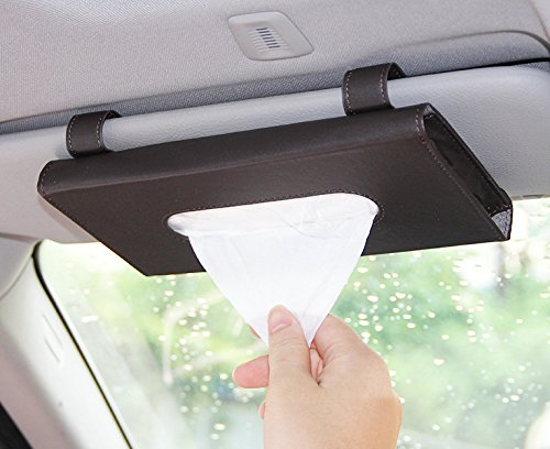 Follicomfy Luxury Leather Car Visor Tissue Holder Mount, Hanging Tissue Holder Case for Car Back Seat, Multi-use Paper Towel Slim Cover Case With One Tissue - Tube Round N Brown