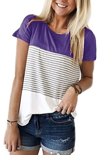 Womens Striped T Shirts Short Sleeve Crewneck Casual Blouses Purple S ()