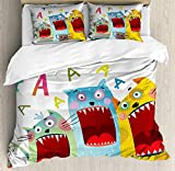 Nursery Duvet Cover Set Queen Size,Colorful Cartoon Cats And Rat Singing Funny Animal Characters Karaoke Night Theme,Bedding Cover Set 100% Cotton Boys Girls For Children Teens,Multicolor