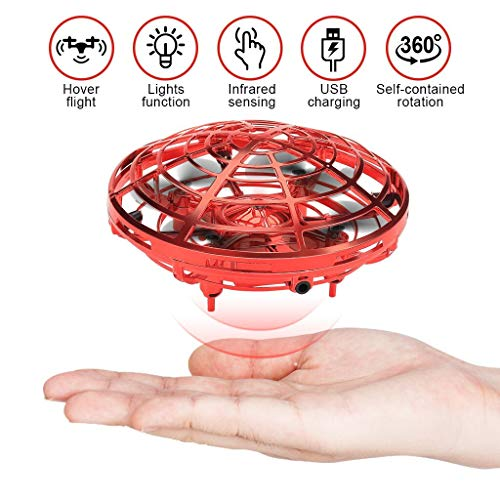 Mini-Drones-for-Kids-with-2-Rechargeable-Batteries-Boy-Toys-Hand-Controlled-Flying-Ball-Drone-Toys-with-2-Speed-Indoor-Outdoor-Toys-with-LED-Light-Flying-Toys-for-Girls-and-Boys-Red