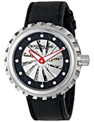 Stuhrling Original Men's 726.01 Renegade Cyclone Automatic Skeleton Black Leather Watch