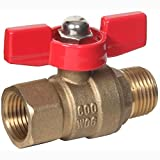 "Midwest Control MMTH-12 600 CWP 1/8"" MPT x FPT Mini Brass Ball Valve with T-Handle"