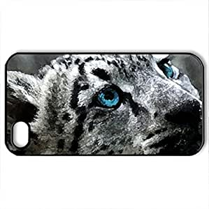 Beautiful White Snow Leopard - Case Cover for iPhone 4 and 4s (Cats Series, Watercolor style, Black)