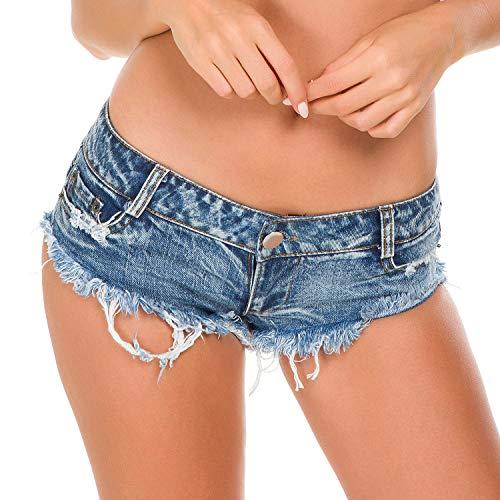 Bill&Candy Women's Sexy Hot Pants Low Waist Rise Side Straps Cheeky Mini Denim Shorts Clubwear (style1, Small) ()