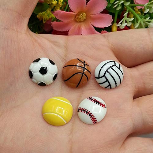 ZAMTAC 100pcs/Lot 15mm Mixed Basketball Football Volleyball Resin Flatback Cabochon Sport Ball Flat Back Scrapbooking Hair Bow Center
