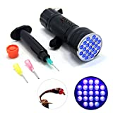 SAMS Fishing 21 LEDs Super Bright Light UV Glue Cure Flashlight and Syringe Dispenser with Dispensing Needles for Fly Tying UV Kits Buzzer Bug Nymph Head Body Trout Flies Making