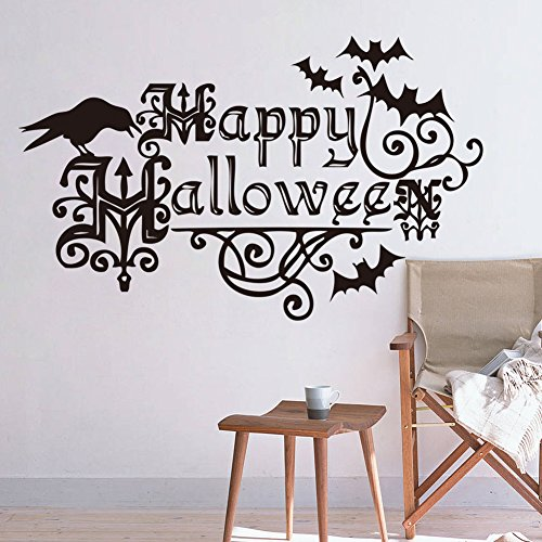 Amaonm Removable Black Vinyl Happy Halloween Theme Party Wall Decorations Decals Kids room Bedroom Black Birds & Flower Vines Wall Stickers Murals for Halloween Party Nusery Room ()