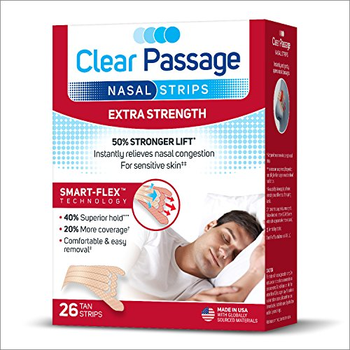 Clear Passage Nasal Strips Extra Strength, Tan, 26 ct | Works Instantly to Improve Sleep, Reduce Snoring, Relieve Nasal Congestion Due to Colds & Allergies (Nasal Strips Snoring)