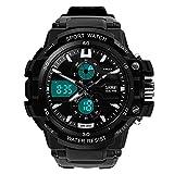 Skmei 0990 3ATM Reloj deportivo con visualización analógica digital, resistente al agua hasta 3ATM impermeable Digital y analógica reloj deportivo con correa de plástico suave (combinadonegro + blanco)