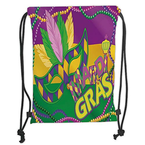 New Fashion Gym Drawstring Backpacks Bags,Mardi Gras,Colorful Bands with Vivid Beads Feathers Mask and Crown Symbol Decorative,Magenta Lime Green Yellow Soft Satin,Adjustable Stri