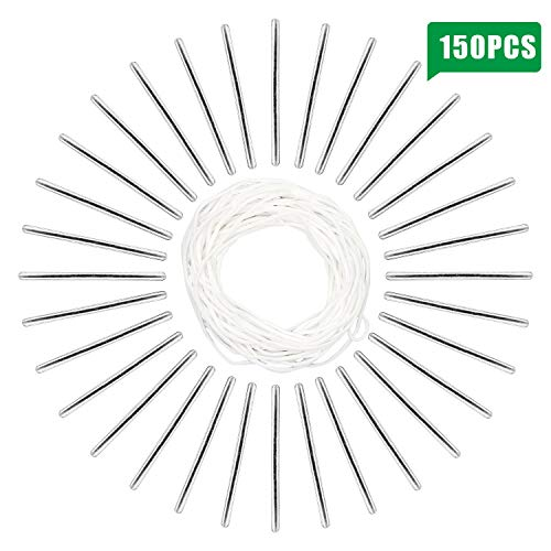 Aluminum Strips Nose Wire,Nose Bridge Strips Metal Flat Strips Straps Adjustable Nose Clips Wire with 10.9 Yard Elastic String Cord Bands Rope for Sewing Crafts DIY Mask (150 PCS)