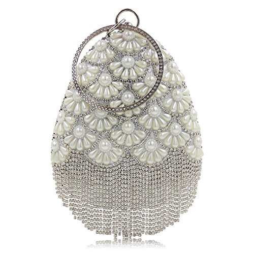 Flada Women Rhinestones Beaded Drops Shape Evening Handbag Party Tassel Clutch Purse Bag Gold Silver